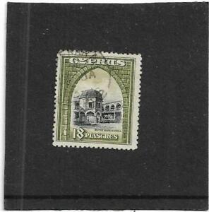 "CYPRUS 1934 18pi BLACK & OLIVE-GREEN ""BUYUK KHAN,NICOSIA"" SG.142 FINE USED"
