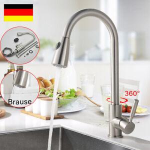 Küchenarmatur Wasserhahn Küchen ausziehbar mit Brause Edelstahl Spültischarmatur