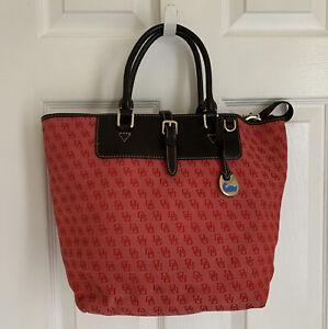 DOONEY BOURKE Red Logo Tote Bag Black leather trim Duck 🦆 Charm