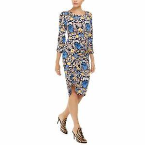 INC NEW Women's Fleur Print Asymmetrical-ruched Sheath Dress TEDO