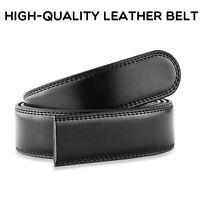 "High quality Mens Leather Belt No Buckle Belt black size 30""-44"" Width 3.0-3.5cm"
