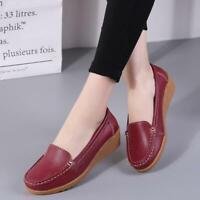 Women Flats Genuine Leather Shoes Wedge Heels Women Loafers