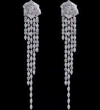 4Ct Natural Diamond 14K White Gold Tassel Earrings WE72-14-1