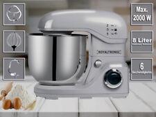 Royaltronic 8 Liter 2000 W max. Küchenmaschine Rührmaschine Knetmaschine Silber