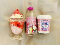 Sanrio Hello Kitty Lipgloss Set Ice Cream Juice Strawberry Sundae Vintage New