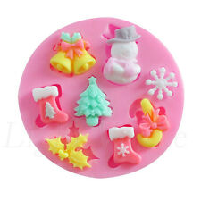 u* Christmas 3D Silicone Candy Cake Baking Chocolate Fondant Decorating Mould A+