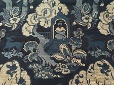 Silver State Blue Chinoiserie Upholstery Fabric Sultan Midnight 2.75 yd SS-68974