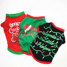 Dog Christmas T-shirt Puppy O Neck Short Sleeve Vest Autumn Winter Pet Clothes