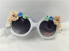 Vintage fashion  white frame with clay rose flower UV 400 handmade sunglasses