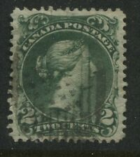 Lovely 1868 Canada 2 cent green Large Queen VF used