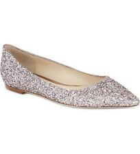 JIMMY CHOO 'Romy' Tea Rose Pink Glitter Ballerina Flats Slip On Shoes Uk 4 Eu 37