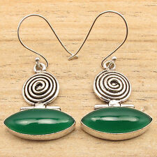 925 Silver Plated Marquise GREEN ONYX Large Gemstone OXIDIZED Earrings