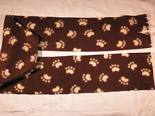 Tan Paw Prints on Brown Fleece Scarf