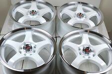 17 white wheels rims Civic Accord CL Miata Tiburon Mini Cooper Ion 4x100 4x114.3