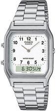 Casio AQ-230A-7D White Men's Stainless Steel Digital Analog Alarm Watch