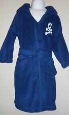 The Childrens Place Boys Skull & Crossbow Hooded Fleece Wrap Robe Blue XS/4 NWT