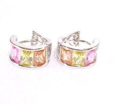 fashion1uk Simulated Diamond White Gold Plated Wide Huggie Hoop Earrings