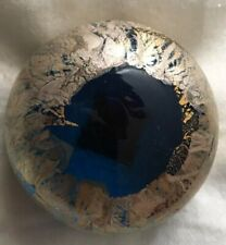 Isle Of Wight Studio Glass Vintage Azurene Gold Paperweight.1990's Label.VVGC