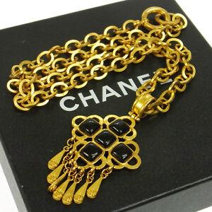 CHANEL Vintage CC Stone Fringe Chain Pendant Necklace Gold Black 95P T04476