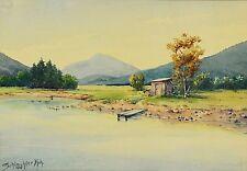 Gemälde Aquarell sign. Schlachter München 1947 Landschaft Gebirge See  27x19 cm