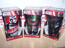 LOT OF 3 DIFFERENT Star Wars PINT GLASS BEER WATER - The Force Awakens- DISNEY