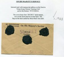 1948?? Hong Kong Stampless OHMS Force cover with interesting 'Secret' Handstamp