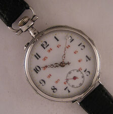 Serviced UNIQUE Cylindre 1900 French SILVER & GOLD Engraved Wrist Watch Perfect