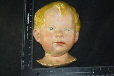 P P CAPRONI & BROS ANTIQUE PLASTER MASK CHILD BOY 9646 RARE BOSTON MASS PAINTED