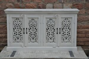 Wooden hand carved traditional cum modern White sideboard and buffet