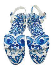 DOLCE & GABBANA Majolica Platform Wedge Sandals Size 11/41 *pre-owned*