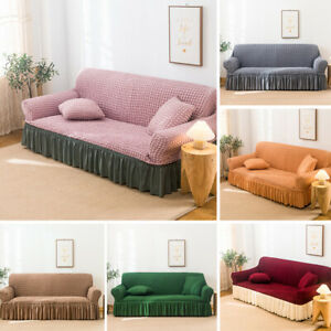 L-Shaped Sofa Full Cover Ruffle Wrap Elastic Protector Towel Slipcover 1-4Seater