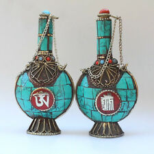 Huge Tibetan Turquoise Red Coral Brass OM Kalachakra Spoon Snuff Bottle Pendant