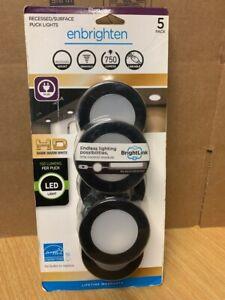 enbrighten brightlink 5-pack 4.1-in plug-in puck under cabinet lights