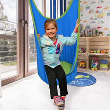 Kids Child Swing Pod Chair Hanging Seat Hammock Indoor Outdoor Blue w/ Straps