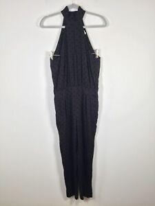 Zimmermann womens black polka dot jumpsuit size 1 sleeveless viscose