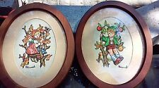 Pair Vtg Stitchery Crewel Hummels Framed Wall Decor