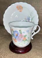 "Narumi Bone China ""Something Blue"" Floral (pastel) Teacup & Saucer"