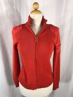 Ralph Lauren Women's Cardigan Sweater Knit Full Zip Mock Neck Crest Orange S