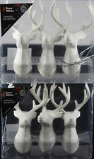Set Of 6 White Glitter Stag Reindeer Head Christmas Tree Baubles Decorations