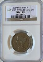 1853 Braided Hair Large Cent - Upright 55 Jules Reiver Collection NGC MS 61 BN