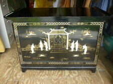 Old Unusual Black Lacquer Asian TV Cabinet Weave Back LOCAL PICK-UP 18J037