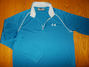 UNDER ARMOUR HEAT GEAR 1/4 ZIP LONG SLEEVE BLUE ATHLETIC TOP MENS LARGE EXCELL