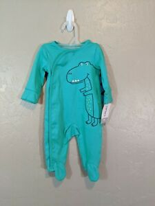NWT Carters Infant Size 3 Months Green Dinosaur Snap Button One Piece