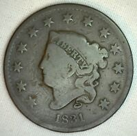 1831 Coronet Large Cent US Copper Type Coin Good R6