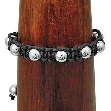 Handmade Black Macrame Shambala Silver Ball Yoga Mala Bracelet