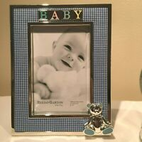 """Reed & Barton GINGHAM BEAR 4x6"""" Baby Picture Frame Lenox SILVERPLATE New 2646"""