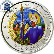 Spanien 2 Euro Gedenkmünze 2005 bfr. Don Quichote von Cervantes in Farbe