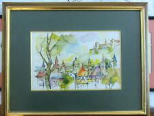 """Signed Andrzey Bogoria Swiatkiewicz """"Salzburg"""" 1991 Watercolor Painting"""