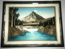 Vintage-Framed 3D Shadow Box Painted Picture-Landscape Natural BARK MOSS Japan!
