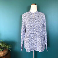 YARRA TRAIL Blue White Floral Cotton Button Up Long Sleeve Shirt Size 14 Petite